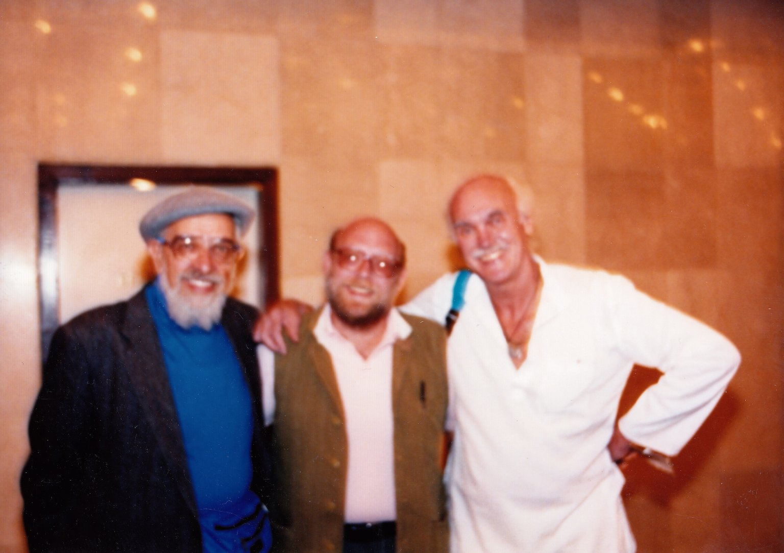 Rabbi Zalman Schachter-Shalomi, Dr. Nathan Katz, and Ram Dass in India, Fall 1990.