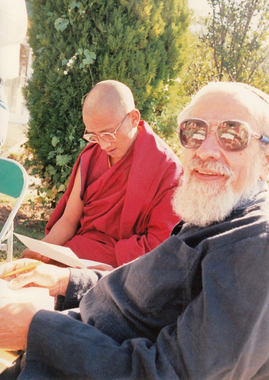 Rabbi Zalman Schachter-Shalomi with the secretary of the Dalai Lama, Fall 1990.