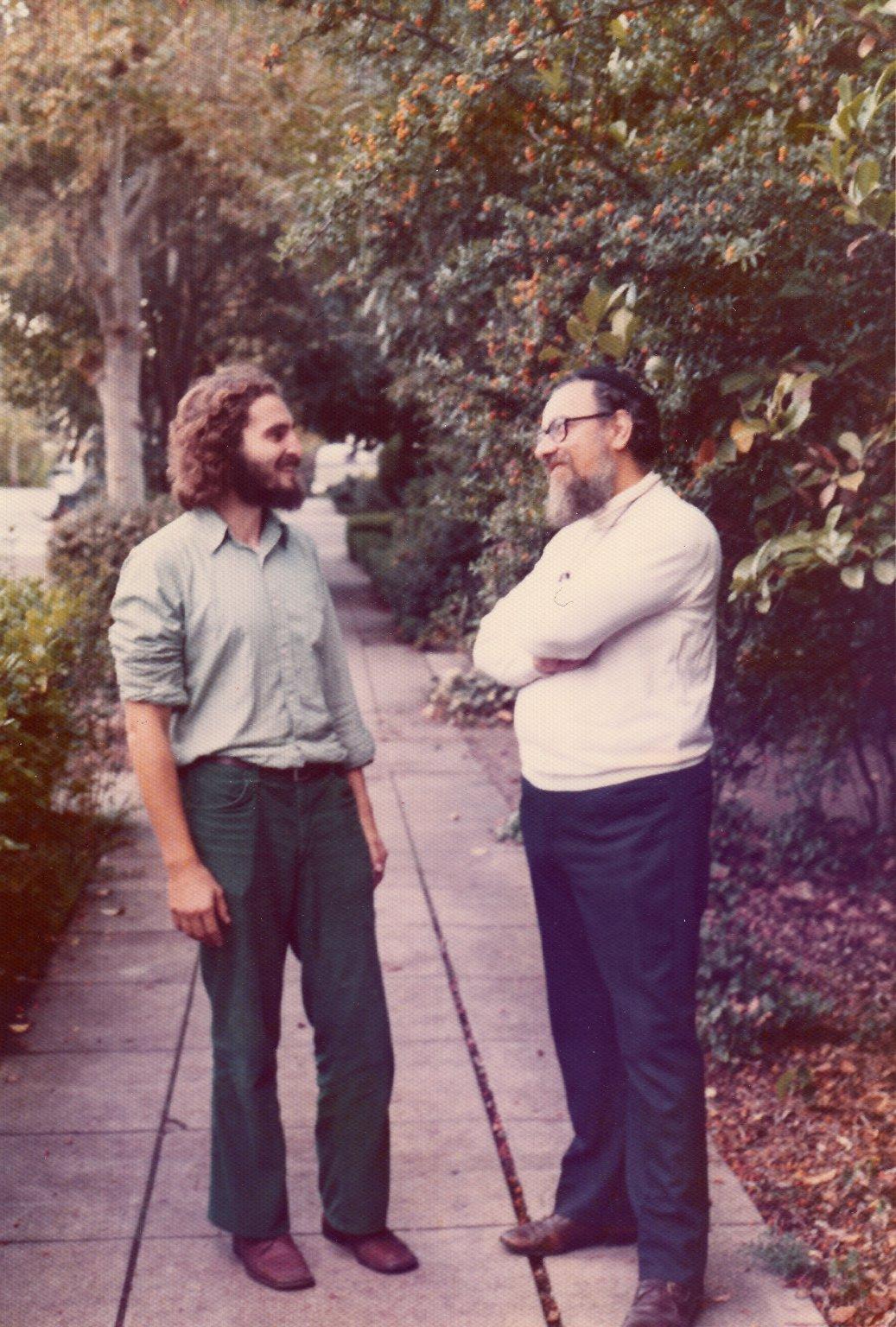 Rabbi Zalman Schachter in conversation with a student, ca. 1972.