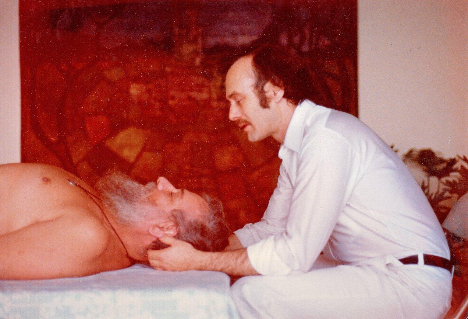 Rabbi Zalman Schachter doing bodywork with Joseph Heller, founder of Hellerwork, ca. 1979.