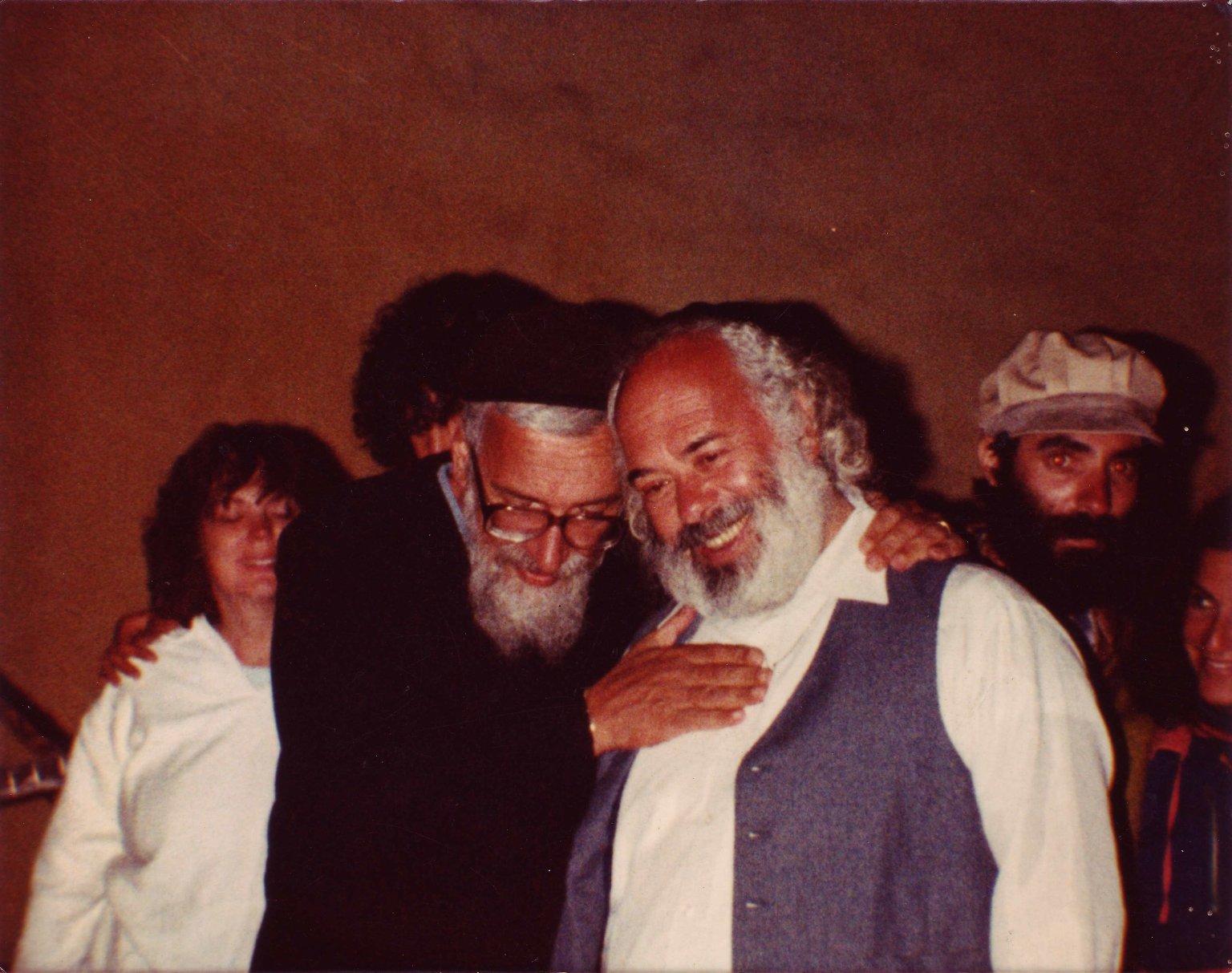 Rabbi Zalman Schachter-Shalomi with his hand on the chest of Rabbi Shlomo Carlebach in Berkeley, California, 1988.