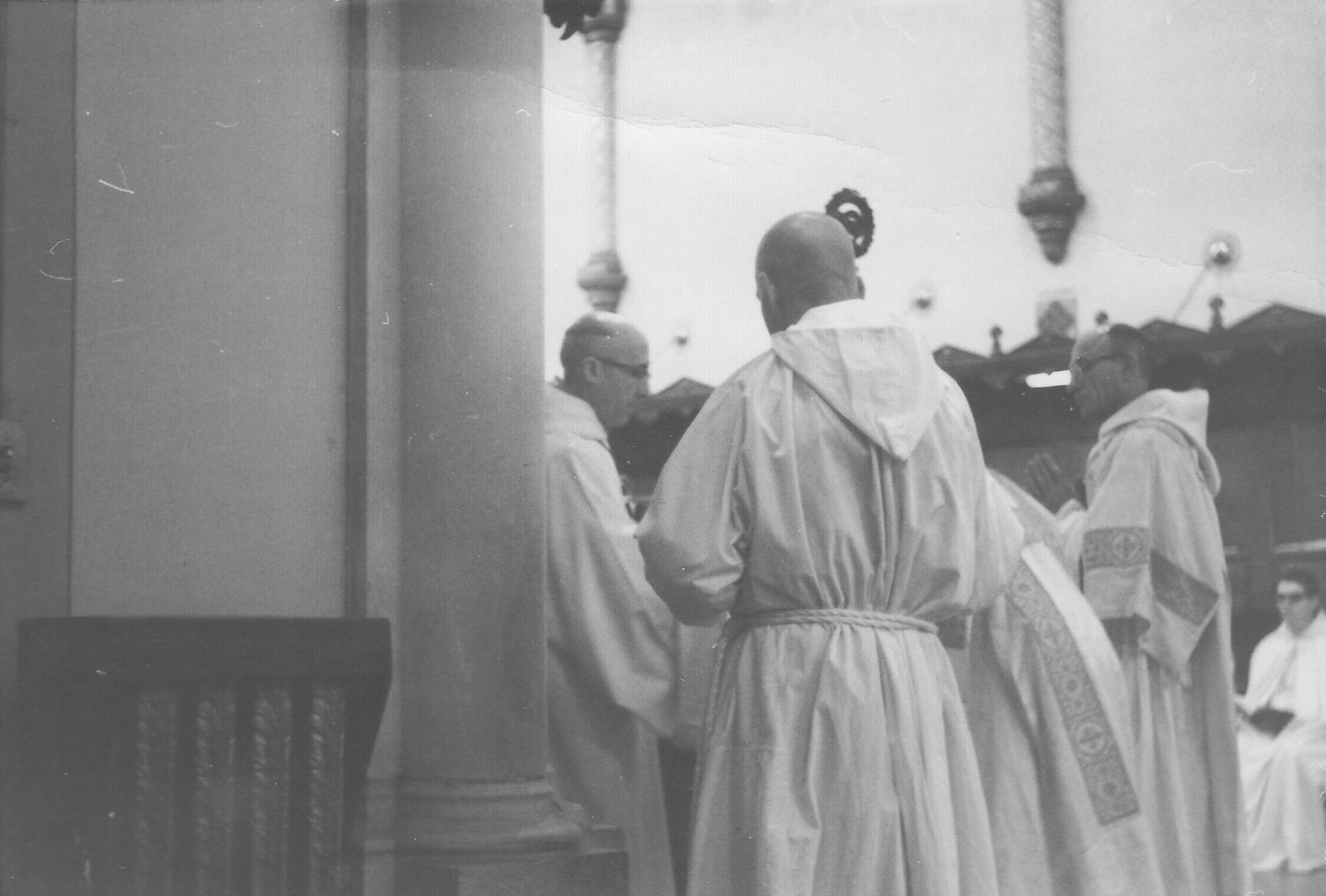 Dom Fulgence Fortier, abbott of Notre Dame Des Praries, during Compline services with the monks, ca. 1960s.