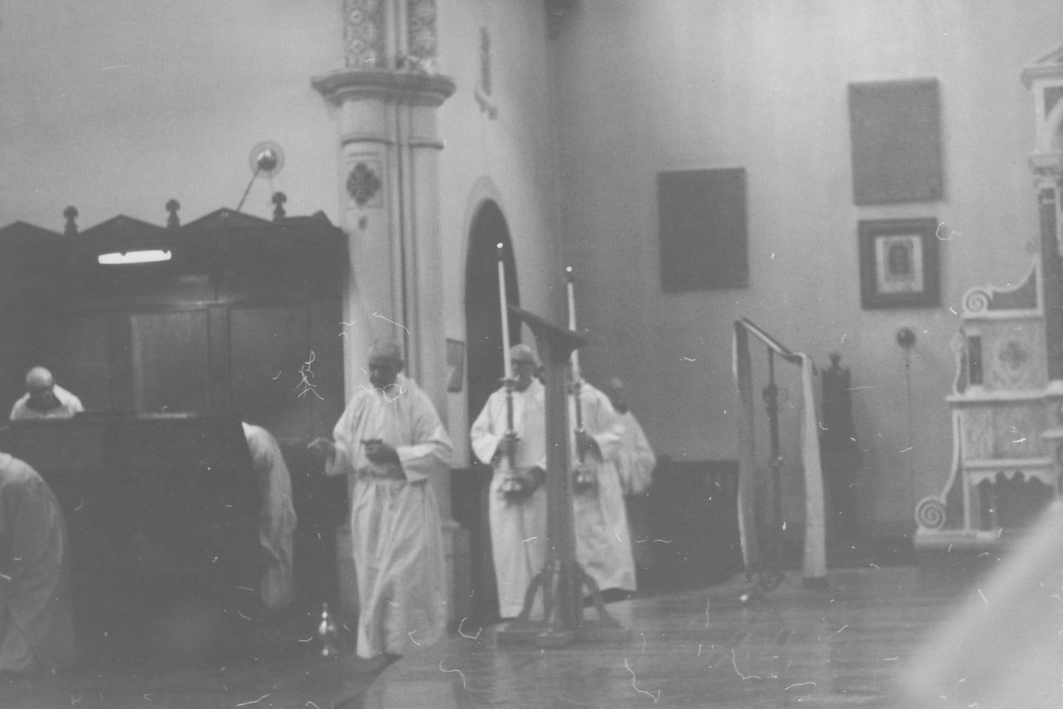 The monks of Notre Dame Des Praries coming in for Compline, ca. 1960s.