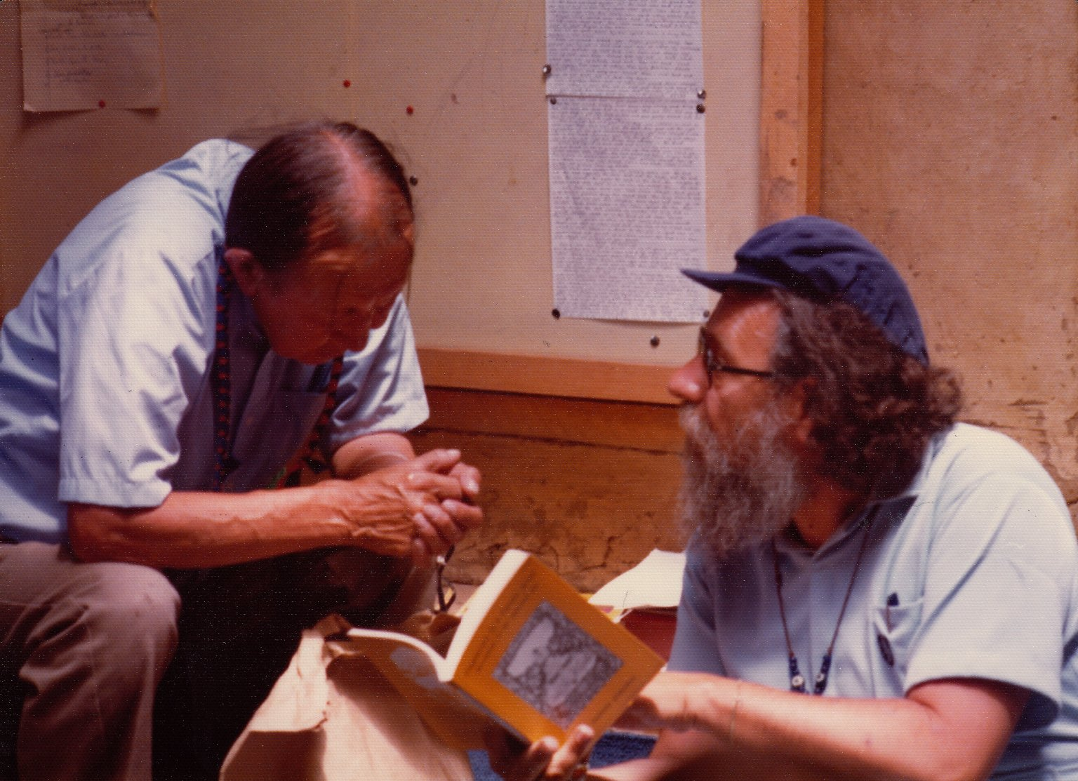 Rabbi Zalman Schachter-Shalomi reading a passage in his book, Fragments of a Future Scroll, to a Native American Elder.