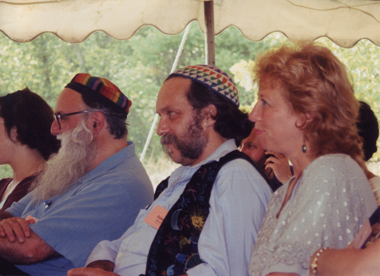 Candid photo from Rabbi Zalman Schachter-Shalomi's 75th birthday celebration at Elat Chayyim, ca. 1999.
