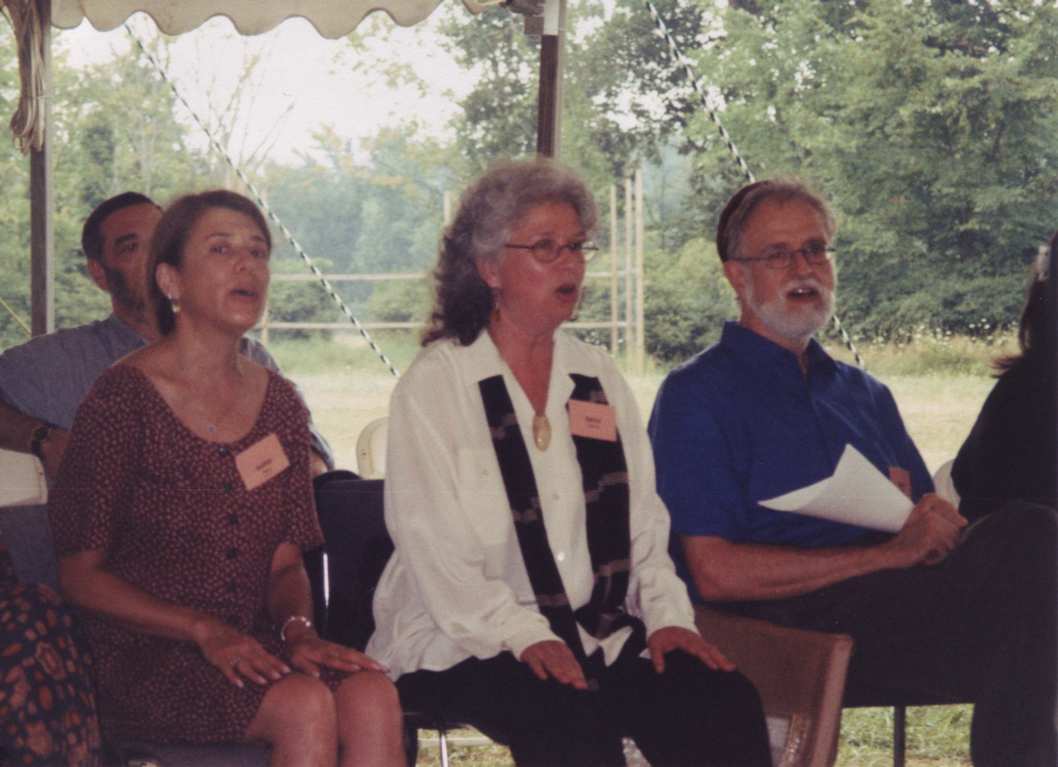Candid photo from Rabbi Zalman Schachter-Shalomi's 75th birthday celebration at Elat Chayyim, ca. 1999.