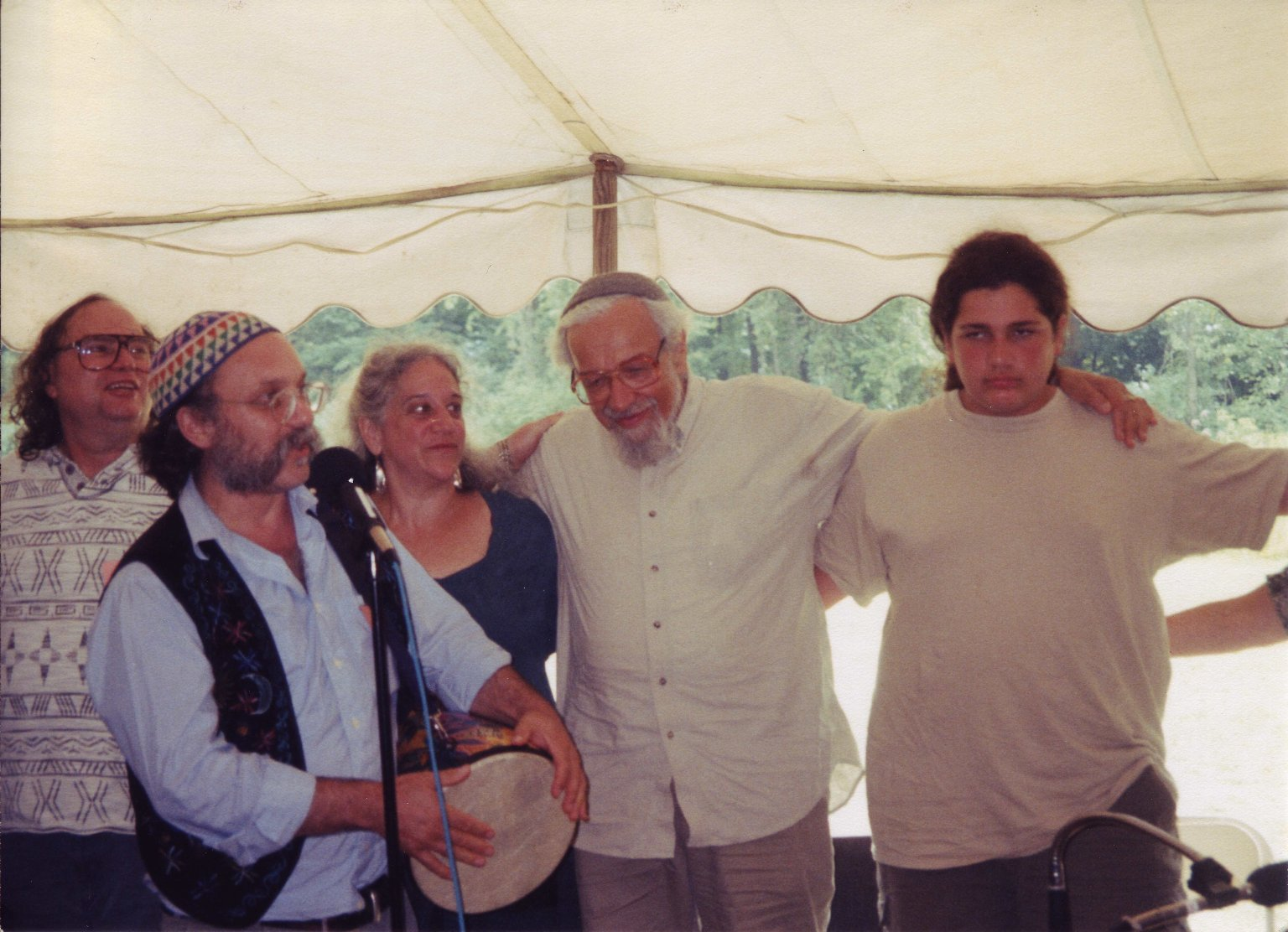 Cantor Robert Michael Esformes performing for Rabbi Zalman Schachter-Shalomi at his 75th birthday celebration at Elat Chayyim, ca. 1999.