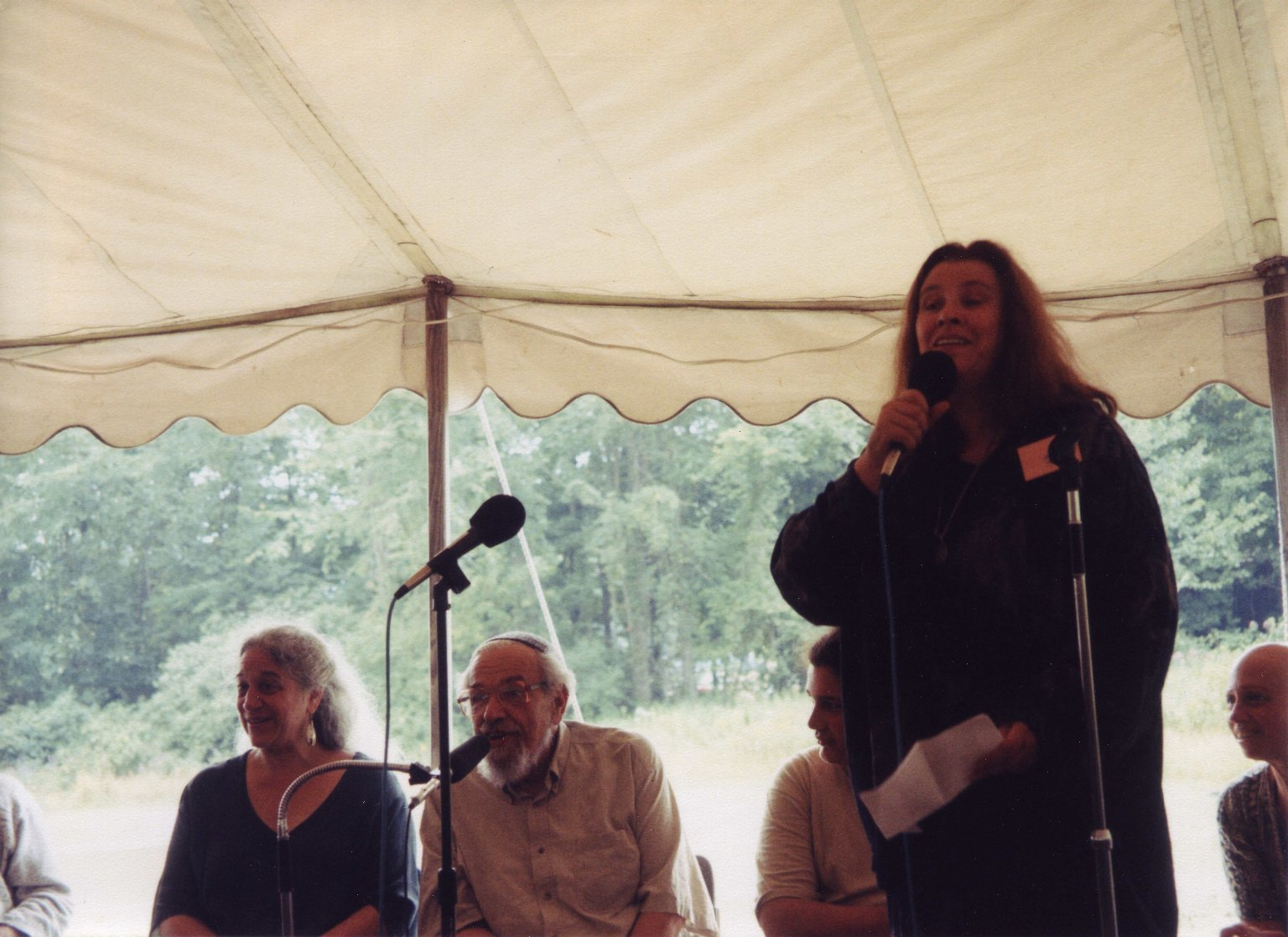 Jean Houston speaking at Rabbi Zalman Schachter-Shalomi's 75th birthday celebration at Elat Chayyim, ca. 1999.