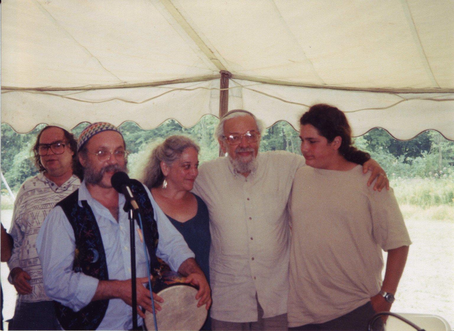 Cantor Robert Michael Esformes performing for Rabbi Zalman Schachter-Shalomi at his 75th birthday celebration at Elat Chayyim, ca. 1999.