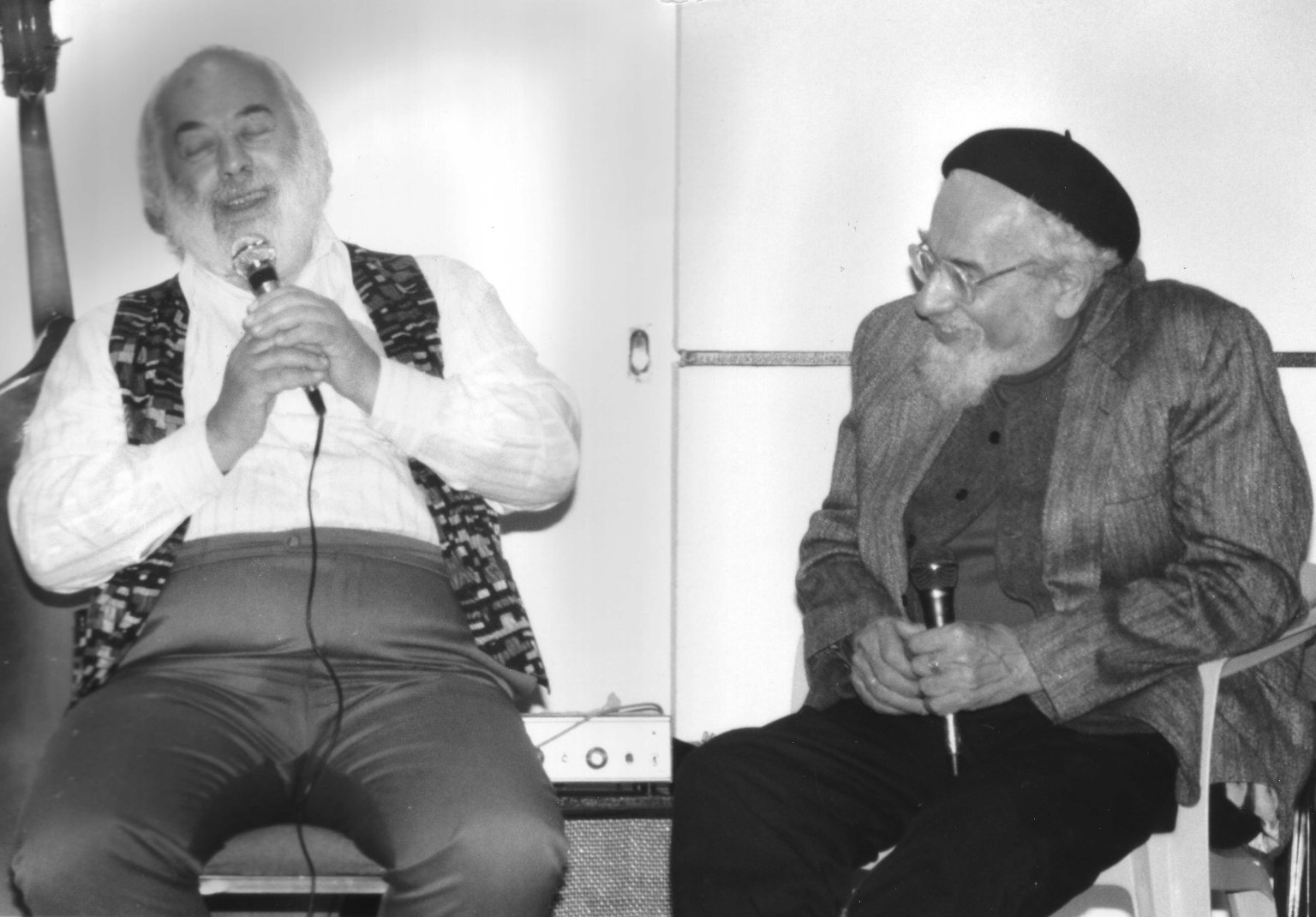 Rabbi Shlomo Carlebach and Rabbi Zalman Schachter-Shalomi speaking in Berkeley, California, in March of 1994.