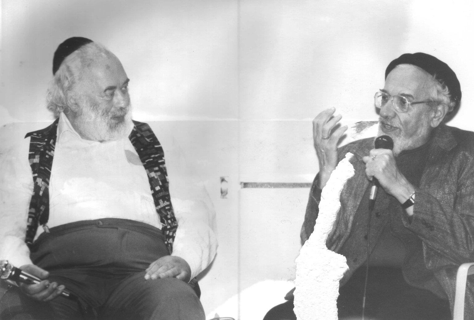 Rabbi Shlomo Carlebach and Rabbi Zalman Schachter-Shalomi speaking in Berkeley, California, in March of 1994.