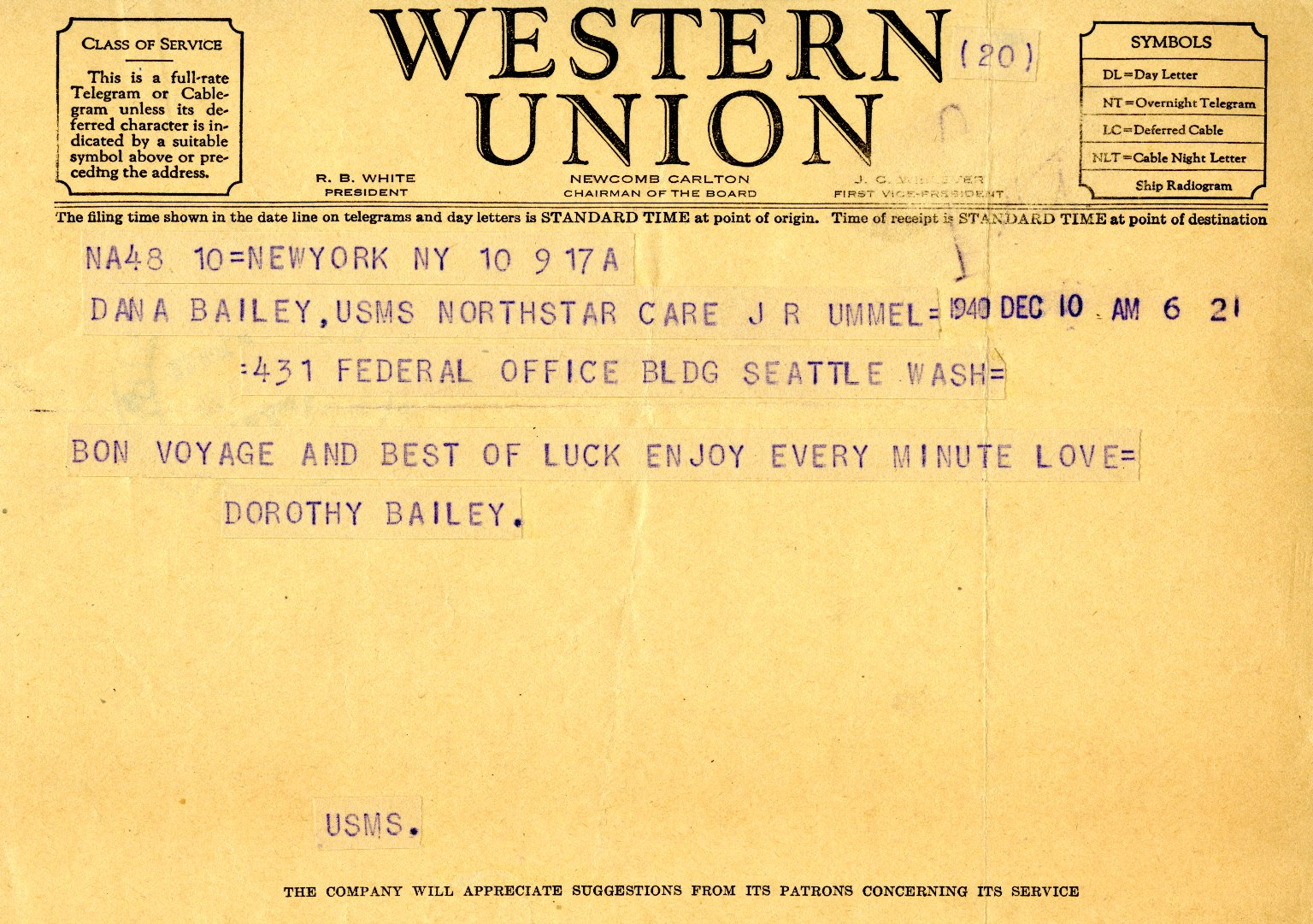 Telegram from Dorothy Bailey to Dana K. Bailey