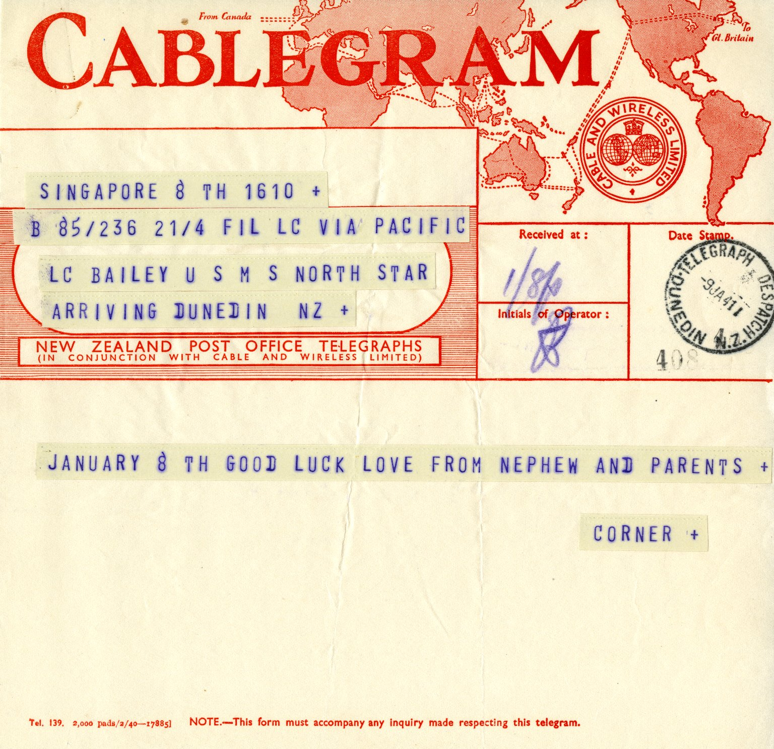 Cablegram to D.K. Bailey from his parents and nephew