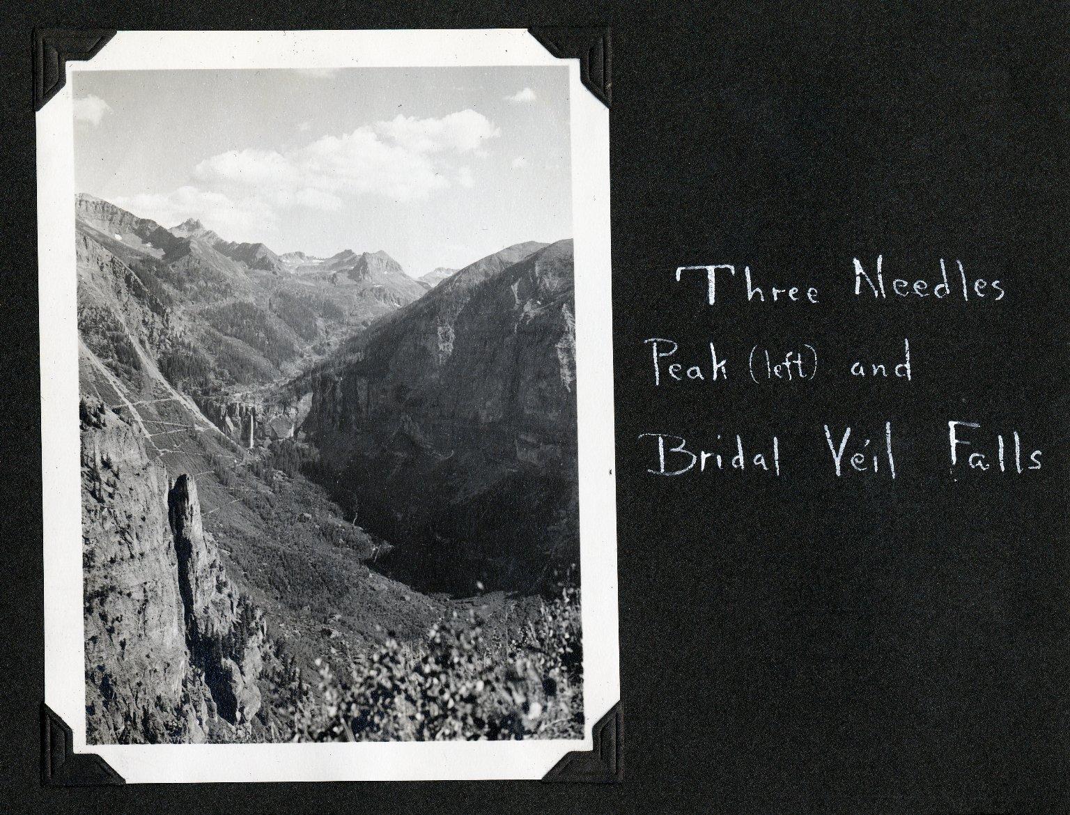 Three Nedles Peak (left) and Bridal Veil Falls