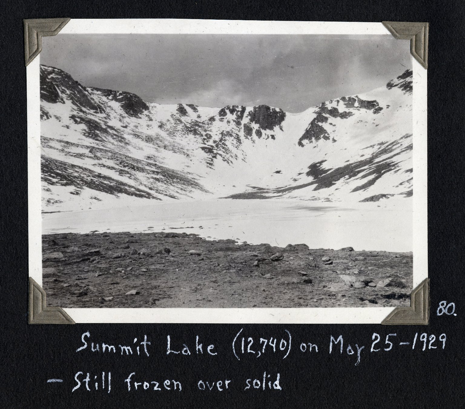 Summit Lake, frozen in May