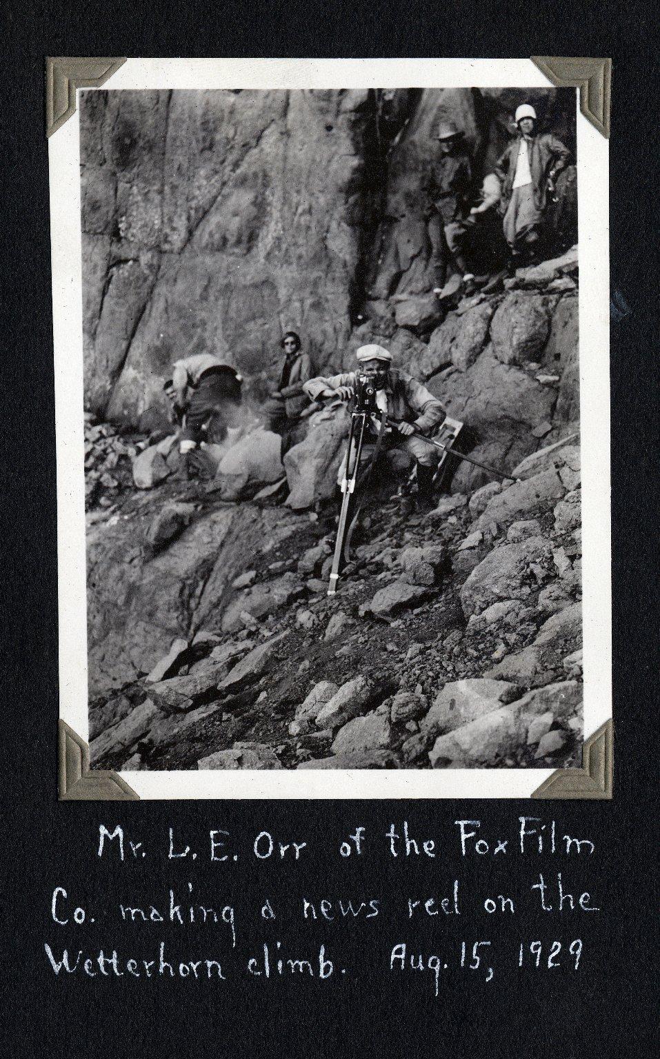 News reel being made of Wetterhorn Peak climb