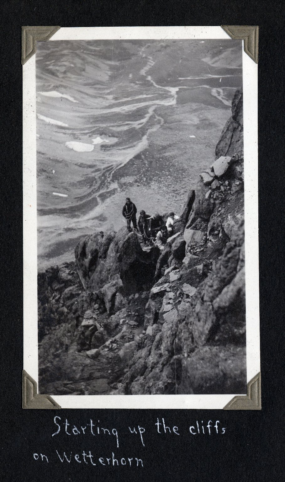 Starting up the cliffs on Wetterhorn Peak