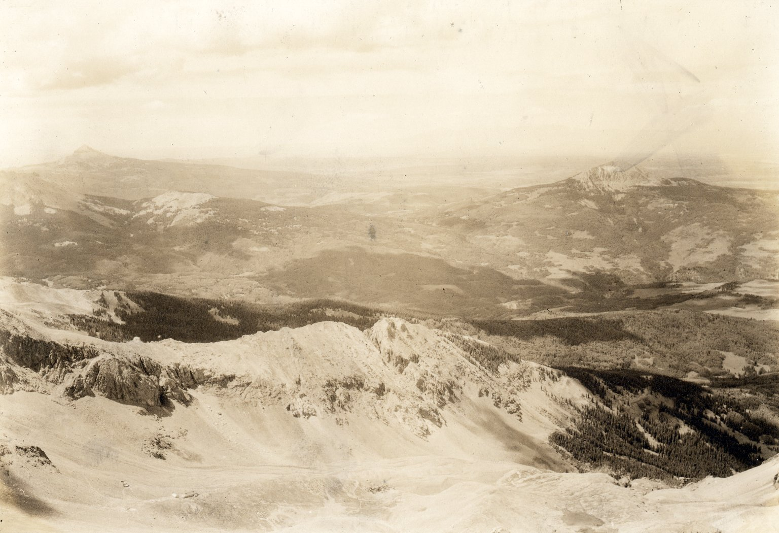 View of lower peaks from high, icy vantage point