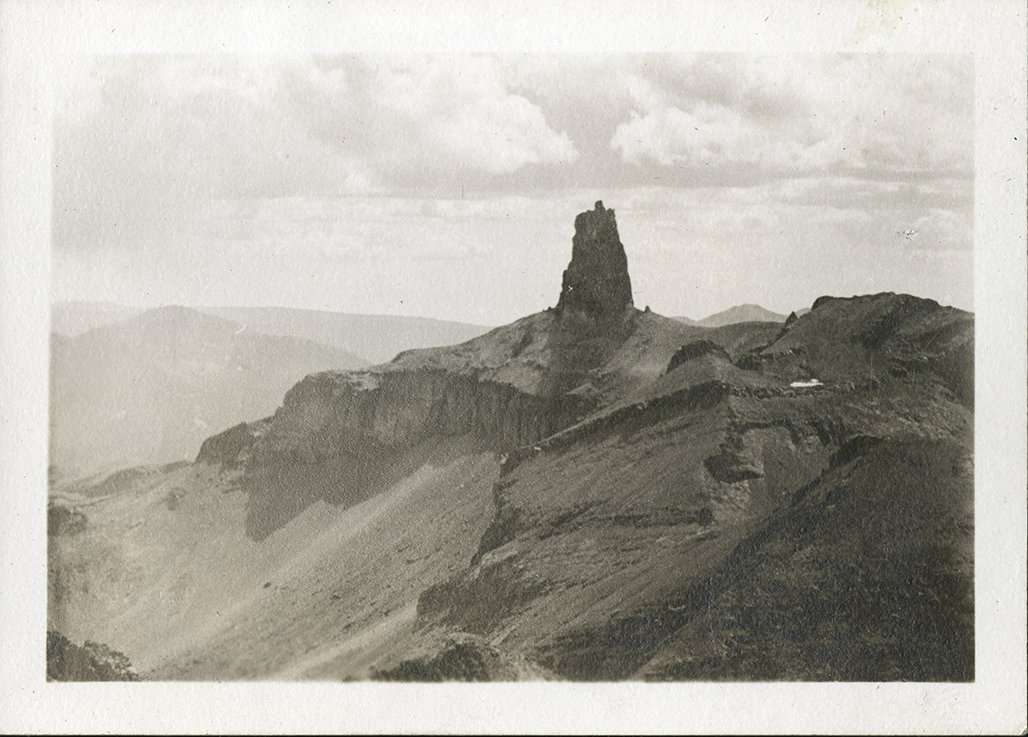Untitled photograph of rock formation, probably the summit of Lizard Head Peak.