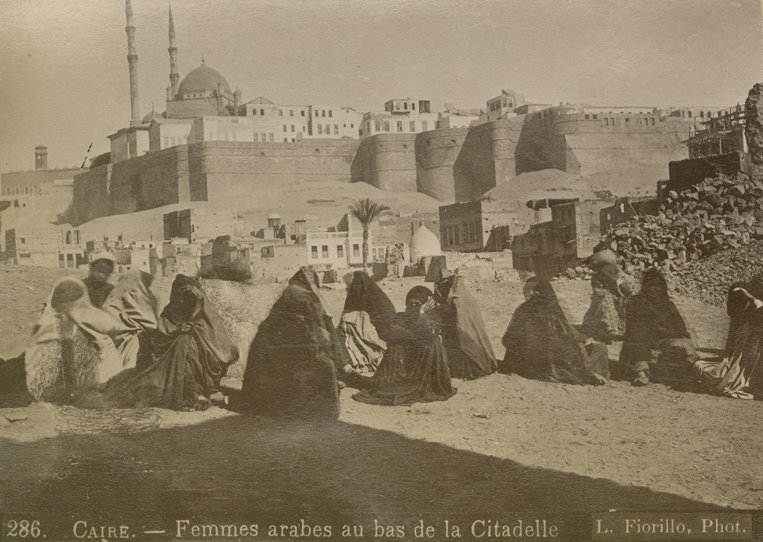 Women in front of the Saladin Citadel of Cairo