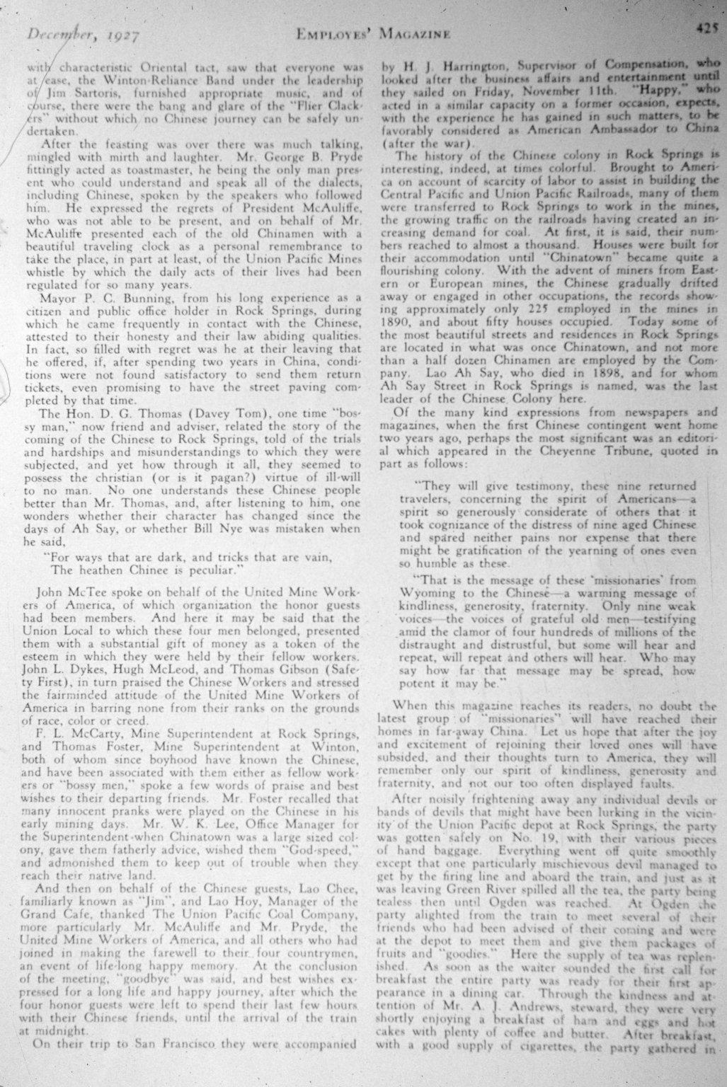 """Homeward Bound"" Rock Springs, Wyo. Late 1920s"