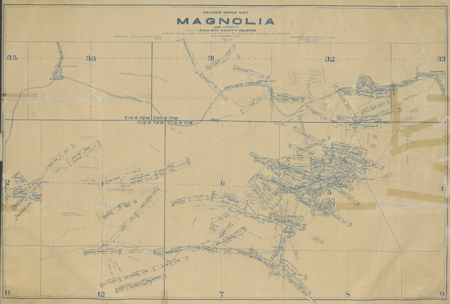 Drumm's Mining Map of Magnolia and Vicinity